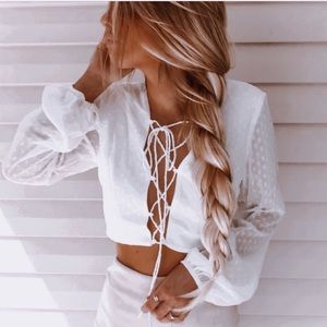 """""""Sabo"""" White Blouse with cute lace up detail"""